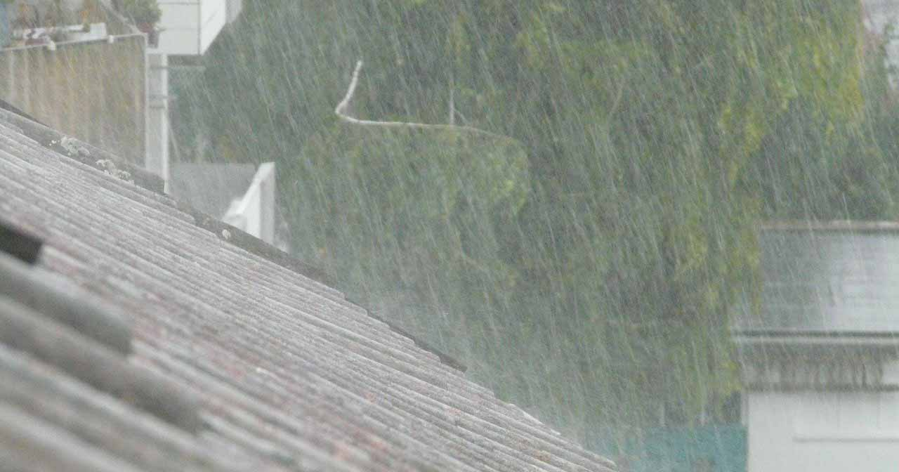 downpour on roof