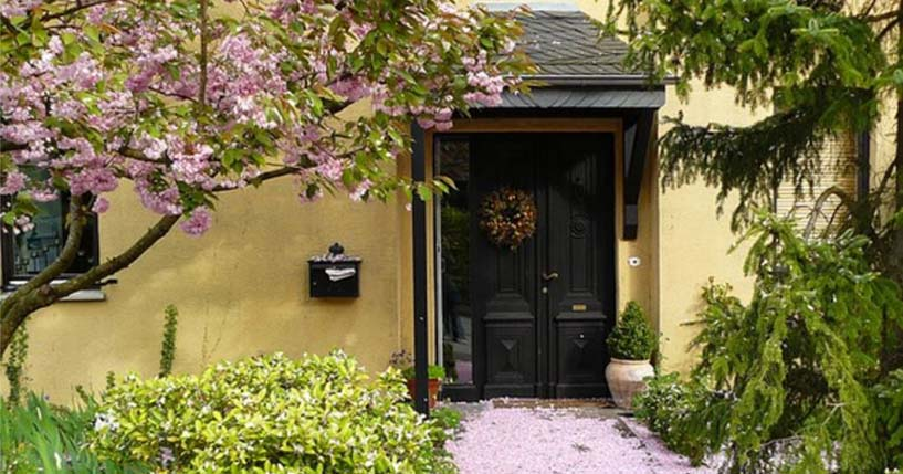 home entrance with flower on ground