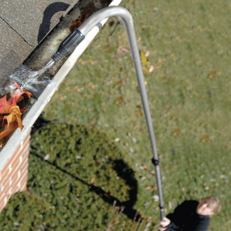 hose attachment for water hose to clean the gutter