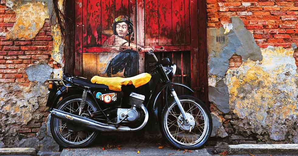 penang motorcycle mural art