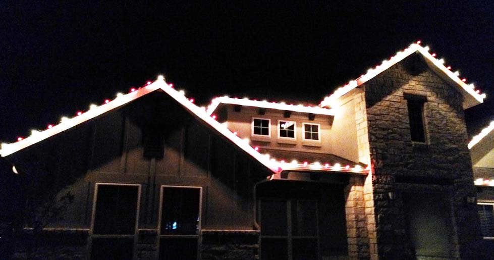 putting on string light without stepping onto roof tiles